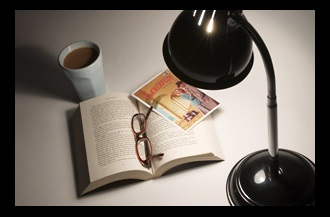 lamp and book with neutral lighting