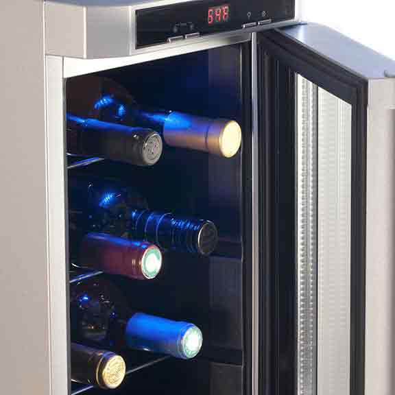 wine fridge open with bottles square