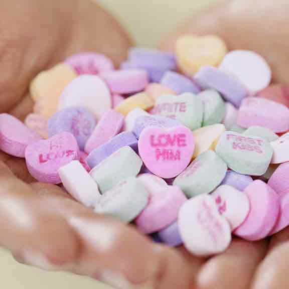 handful of love heart sweets square