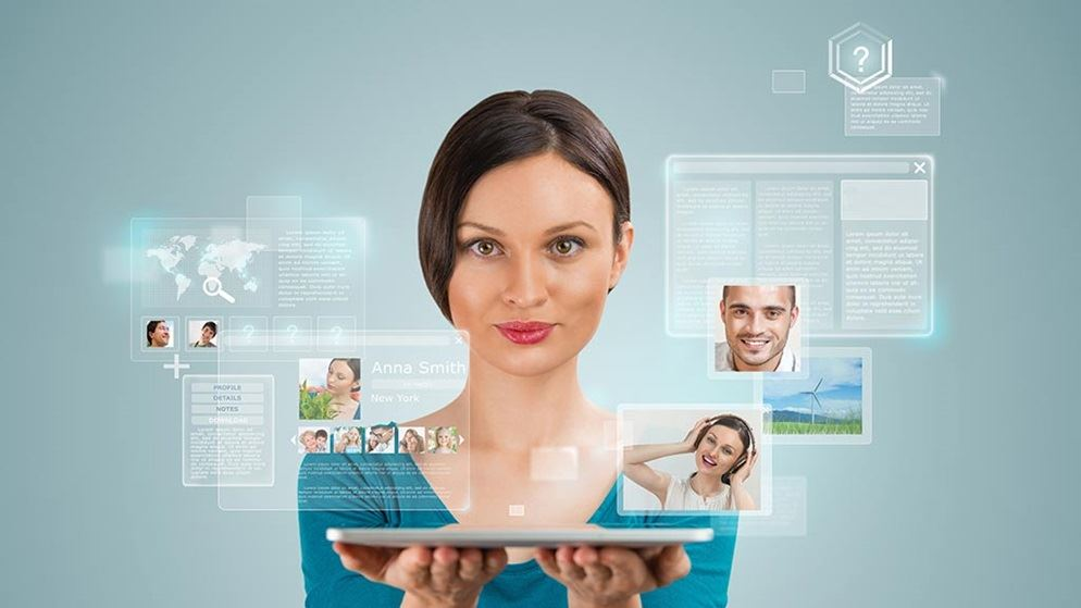 woman surrounded by digital files interface
