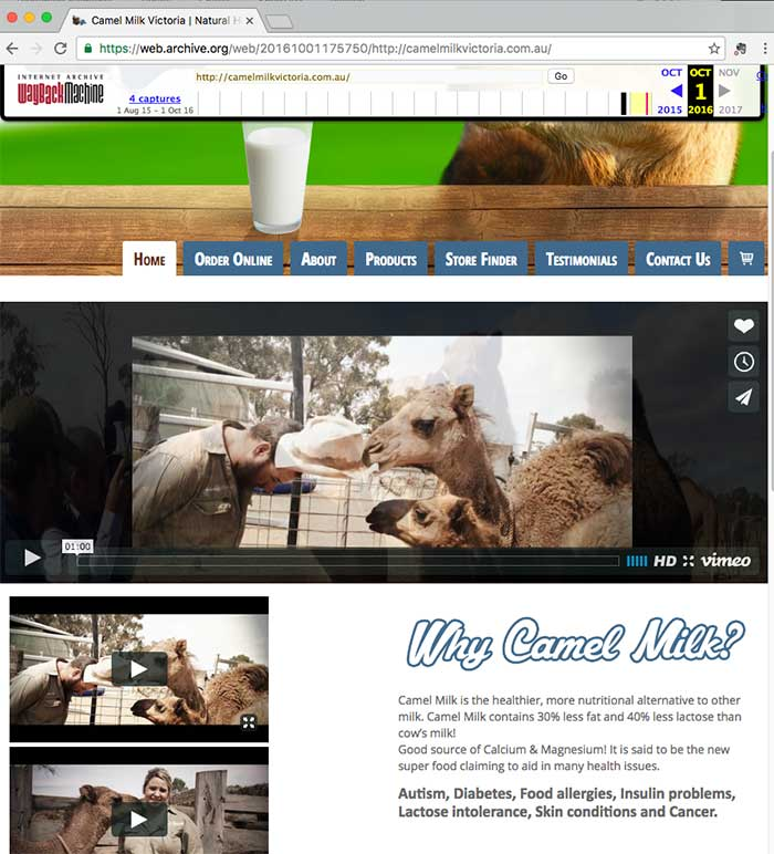 camel milk victoria archived site