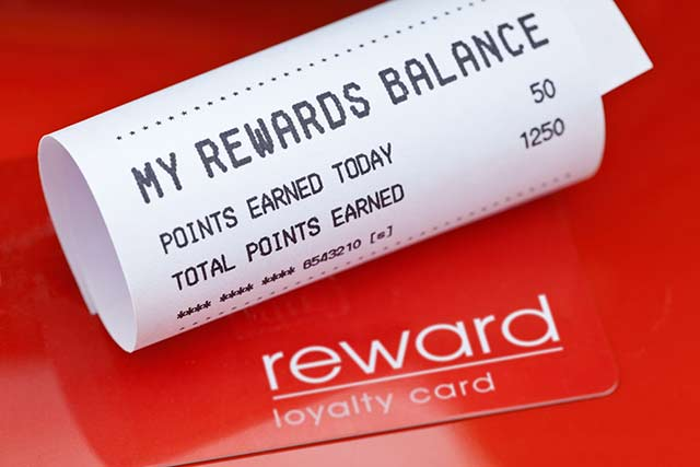 loyalty reward card and receipt