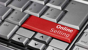 keyboard with button saying online selling