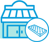 Bricks and mortar mattress store illustration