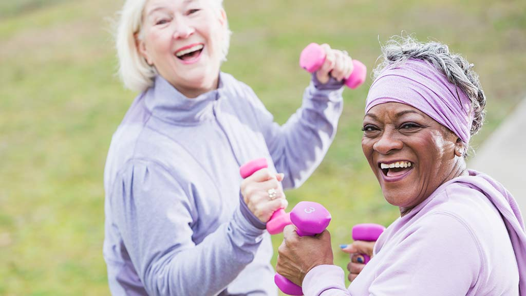 two older woman working out