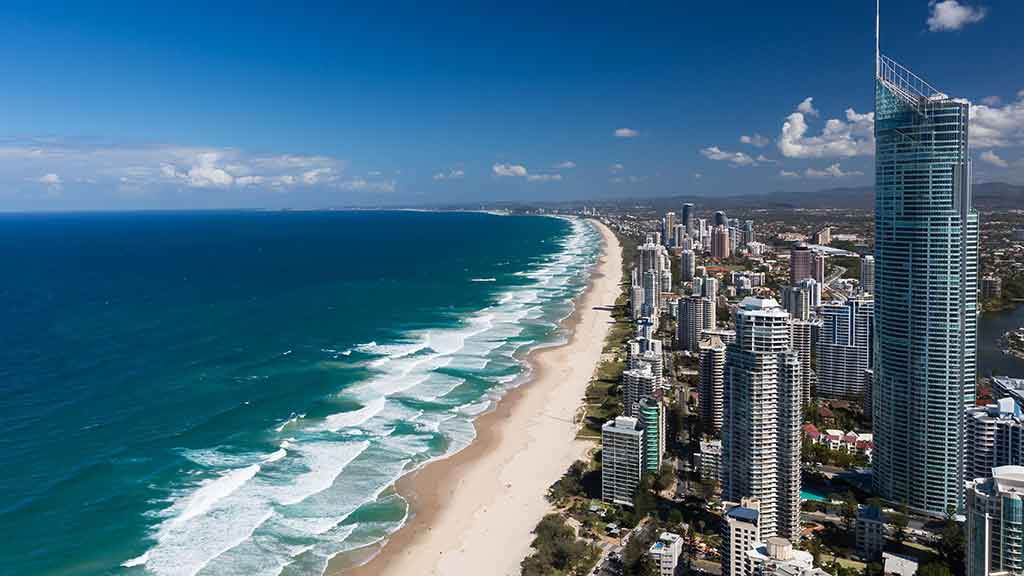 gold coast beach and buildings