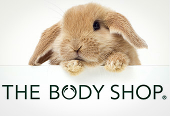 Bunny with Body Shop logo