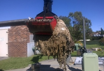 Wipes being removed from a suburban pumping station - photo supplied by Sydney Water