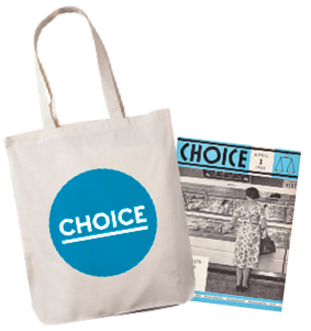 Choice free tote bag and 1960 magazine.