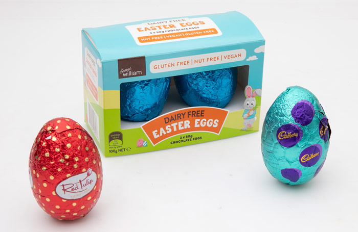 Easter eggs red tulip dairy free and cadbury