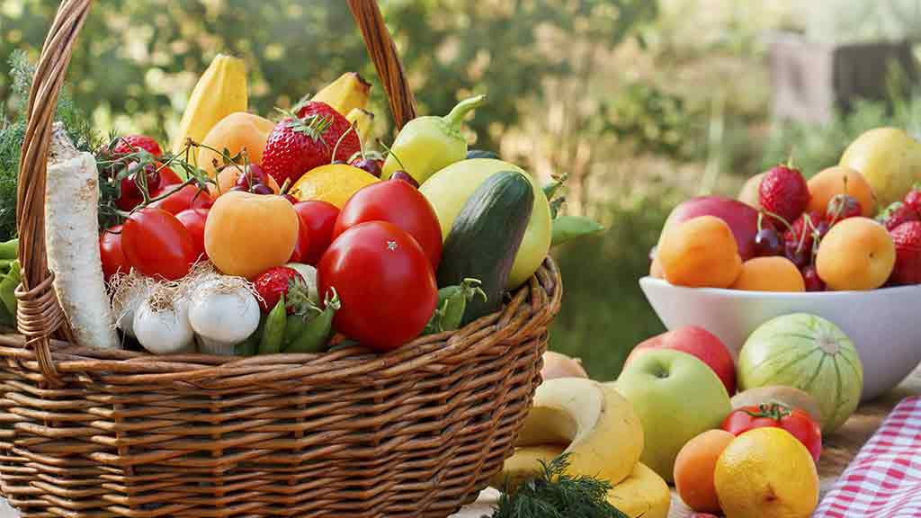 basket of vegies and bowl of fruit