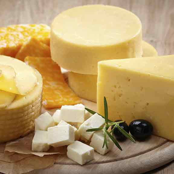 cheeses on round board square