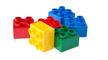 colourful lego blocks on white background
