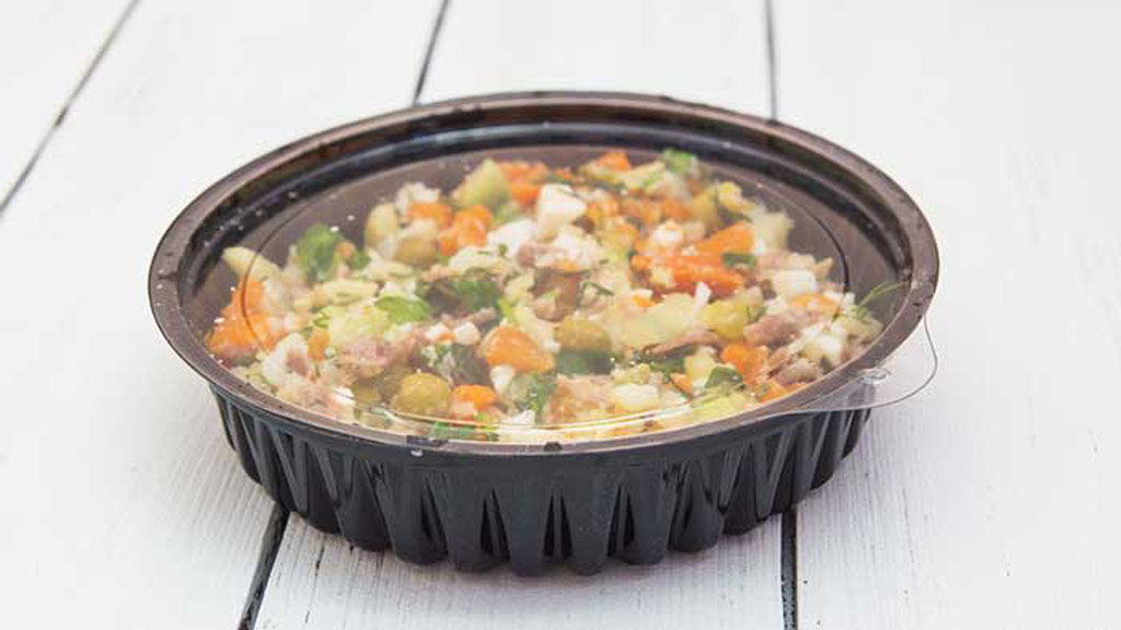 takeaway salad in plastic container