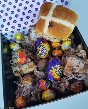 The Cadbury Creme Egg hot cross bun snack pack from Dessert Boxes