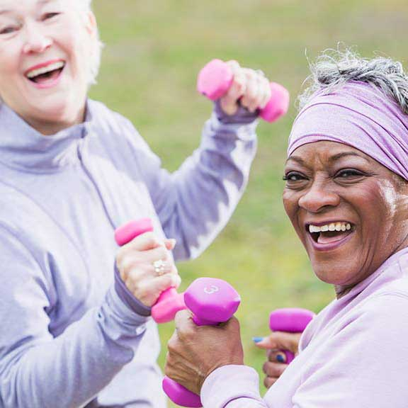 two older woman working out healthy ageing landing sq