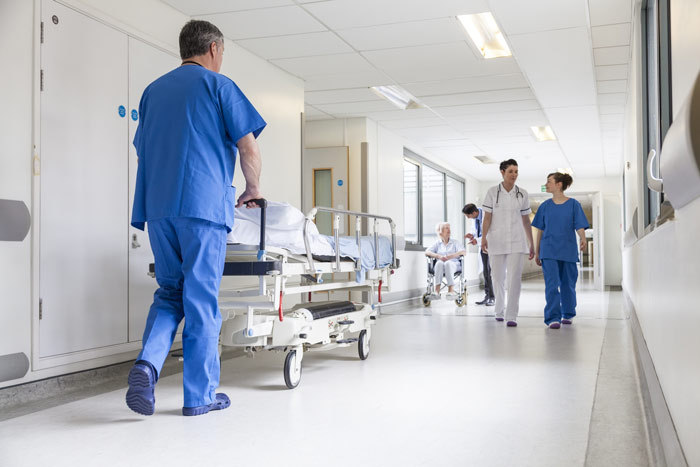 hospital corridors with nurses and doctors