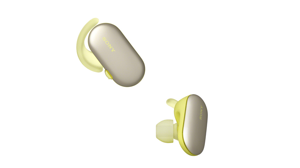 WF-SP900 green earbuds on angle