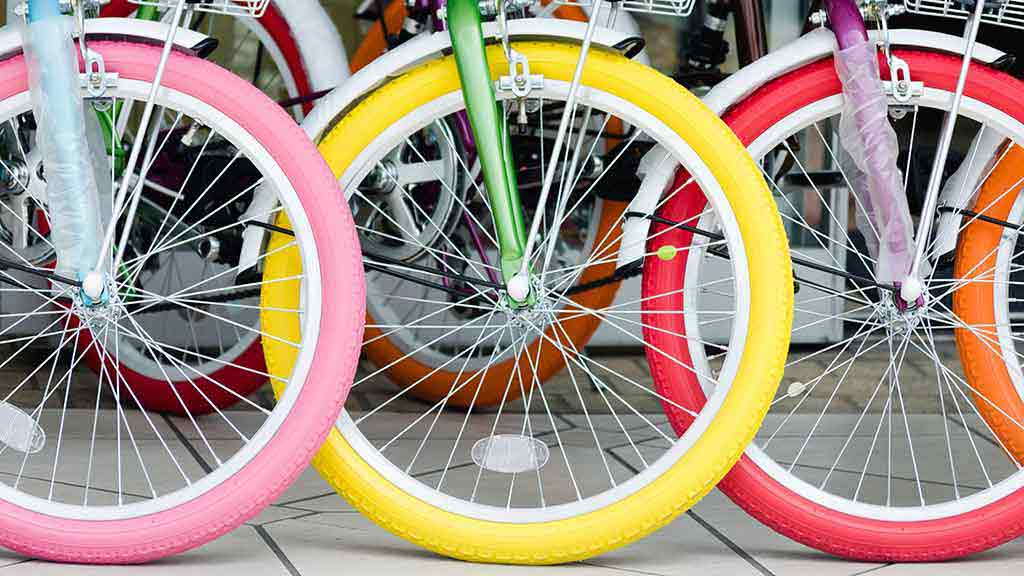 colourful bike wheels