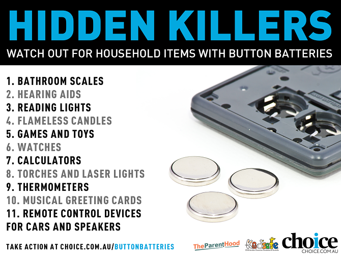 List of household items containing button batteries