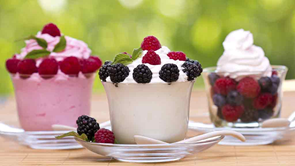 yoghurt and ice cream dessert cups with fruit