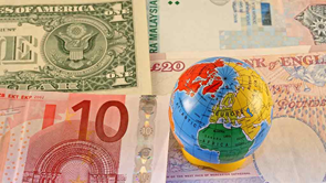 foreign bank notes with globe
