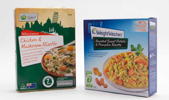 Two frozen risotto meals