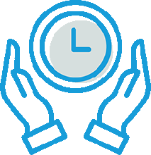 hands with clock illustration
