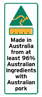 96 percent Australian ingredients label