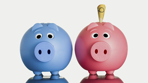 pink and blue piggy bank