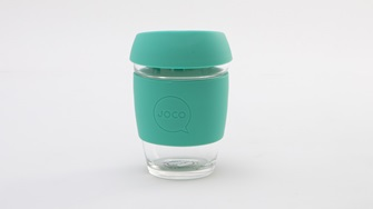 Glass Drinking Coffe Cup With Green Lid