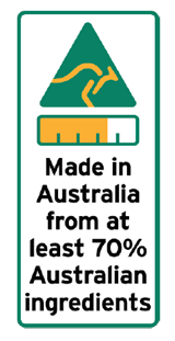 70 percent Australian ingredients label