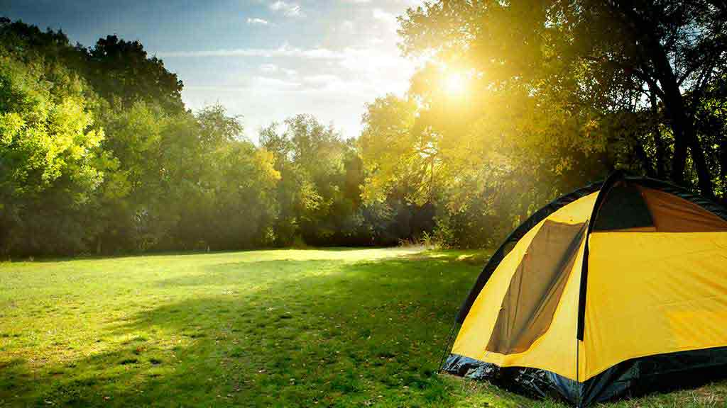 tent during sunrise