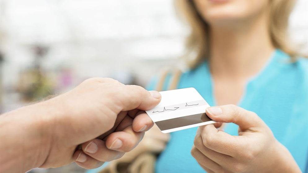 woman shopping using credit card