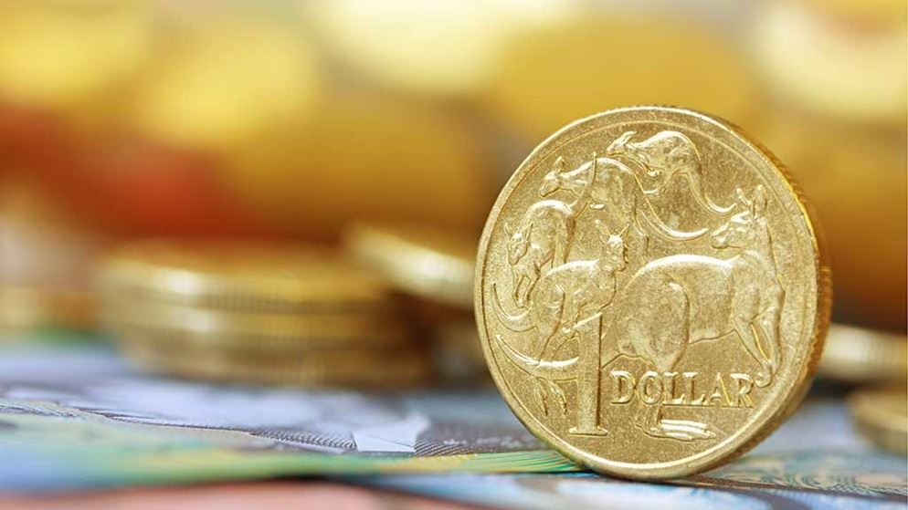 australian dollar coin and currency closeup