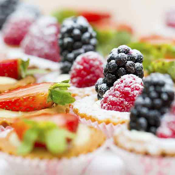 selection of fruit tarts square
