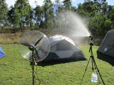 Rain test for tents