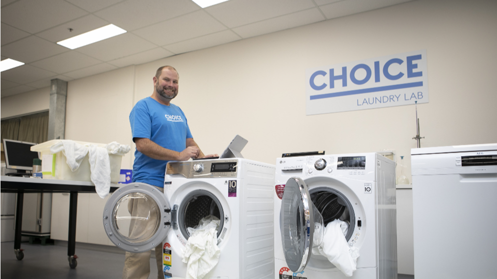Ashley Iredale testing washing machines